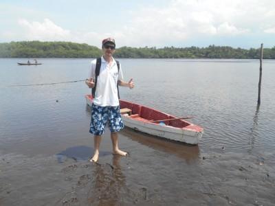 Boarding Julio's rowing boat.