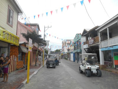 San Pedro town centre in Ambergris Caye, Belize.