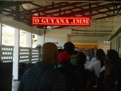 Guyana immigration queues on arrival in Moleson Creek.