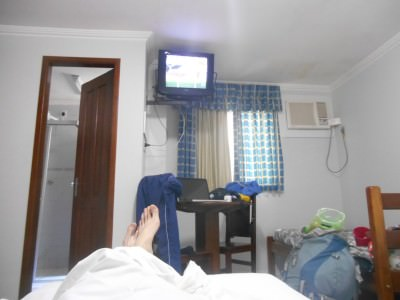 Chilling in our room which had WiFi