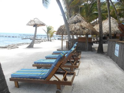 Sun loungers by the sea at Xanadu Island Resort.