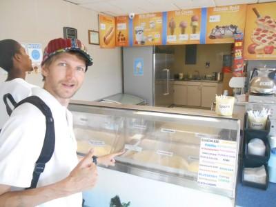 Choosing my ice cream at WDs.