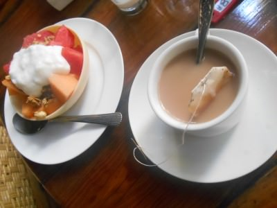 Fruit, cereal, yoghurt and tea - one of my two free brekfasts