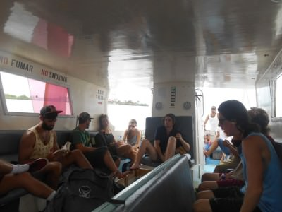 The packed boat from Placencia to Puerto Cortes