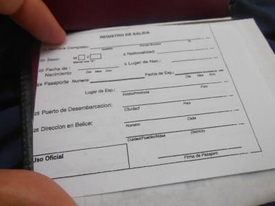 Belize exit forms