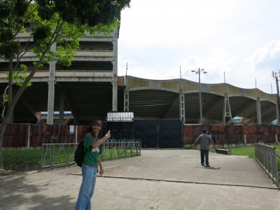 Heading to the entrance gate for Estadio Olimpico in San Pedro Sula.