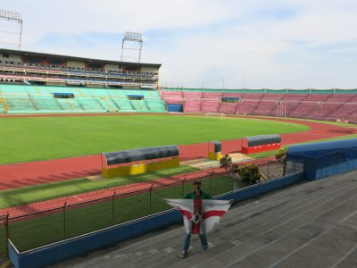 Northern Ireland flag inside Estadio Olimpico in Honduras.