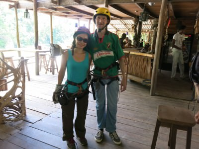 Panny and I ready for ziplining.