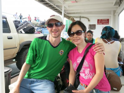 Panny and I crossing into Guyana by ferry.