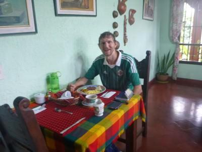 Breakfast time in Hotel Linda Vista, Tegucigalpa.
