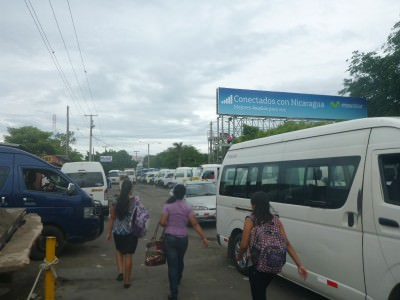 Searching for the bus from Managua to Granada.