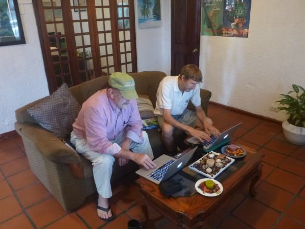 Working in the lounge with writer Michael Miller