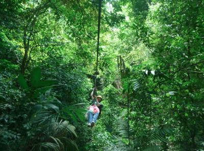 Ziplining in Parque Nacional Pico Bonito, Rio Cangrejal, Honduras