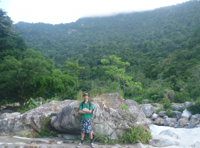 Hiking in the national park.