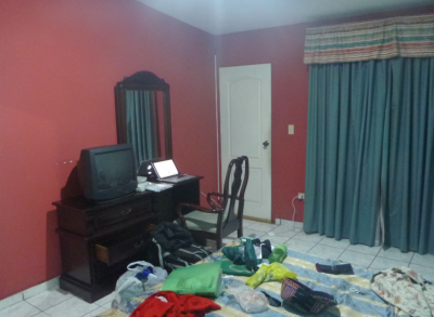Bloggers desk by night in Tegucigalpa.