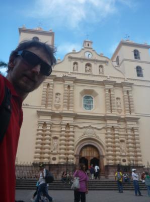 Catedral selfie in downtown Tegucigalpa, Honduras.