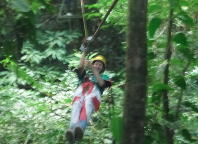 Loving the ziplining in Rio Cangrejal.