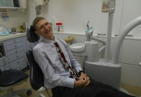 Pretending not to be nervous in the dentist in Hong Kong.