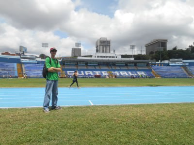 Inside the national football stadium in Guatemala City.