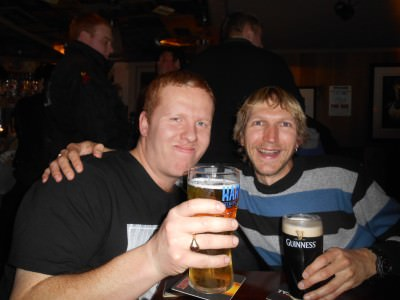 Having a drink with my brother in Bangor, Northern Ireland.