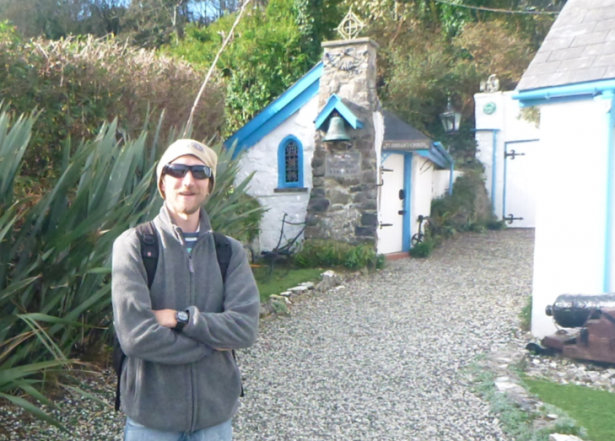 Admiring Ireland's Smallest Church in Portbraddon, Northern Ireland.
