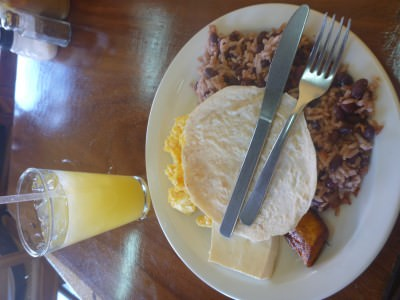 Desayuno Nica in Leon, Nicaragua.