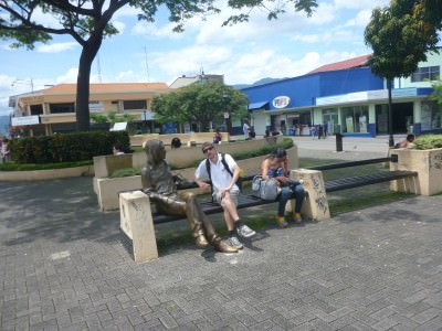 Sitting with John Lennon on his bench in San Jose!
