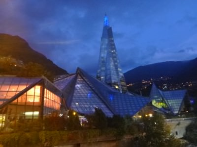 The magnificent Caldea in Andorra by night.
