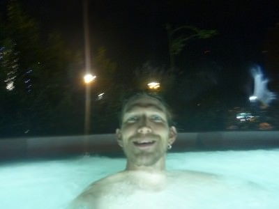 In the outdoor jacuzzi.