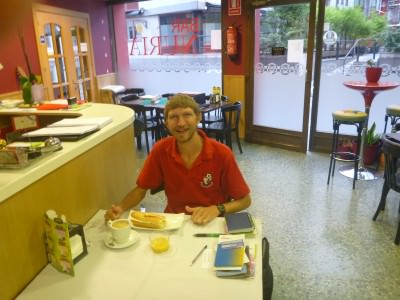 Enjoying my breakfast at Residencia Nuria
