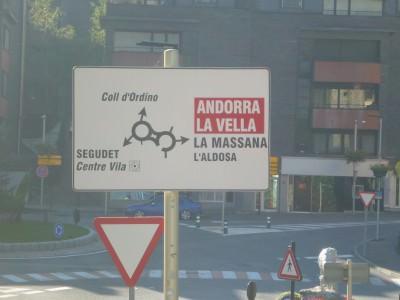 Road sign in Ordino.