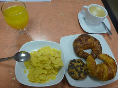 Some of my feast - Breakfast at Hostal Barcelona.
