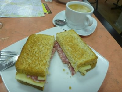 Cheese and salami toastie - Breakfast at Hostal Barcelona.