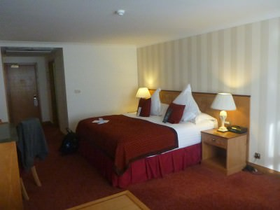 Just comfy - by bed in the Europa Hotel.