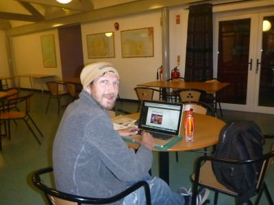 Working online in the Whitepark Bay Hostel
