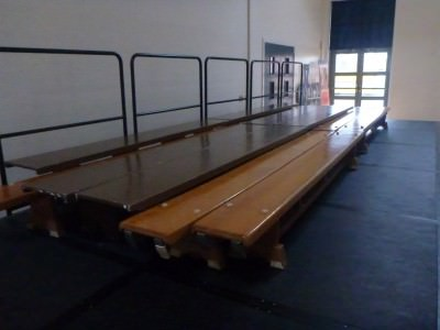 Benches in the assembly hall.