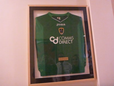 Wall of fame in Kilmaine - Josh Magennis's shirt.