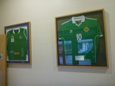 Josh Magennis and Gary Browne's Northern Ireland shirts.
