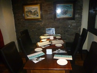 Table all set for dinner in Donegans.