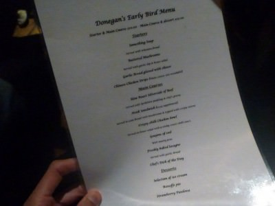 The menu in Donegans on the 30 Year Reunion Night.