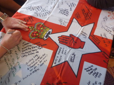 A nice touch - signing a Northern Ireland flag for Jordan. Our Wee Country.