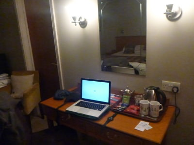 WiFi desk in the Clumber Park Hotel and Spa.