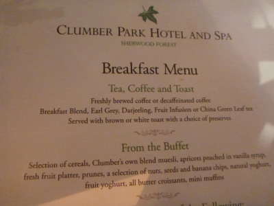 Breakfast menu at the Clumber Park