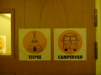 Teepee and Campervan - 2 of the quirky room names.