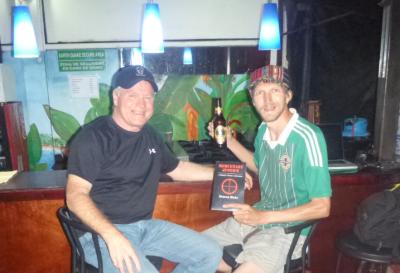 Having a drink with Deacon Blake in the Hemingway Inn, San Jose, Costa Rica.