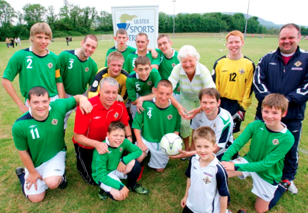 Jared Kennedy, back left playing for Northern Ireland.