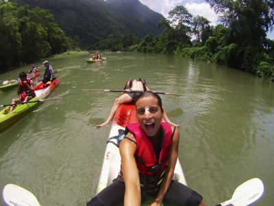 World Travellers: Jack and Jenn kayaking in Vang Vieng