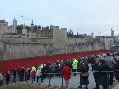 Big crowds at the Poppies Display.