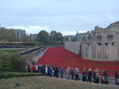 We will remember them: Crowds at the poppies display in London, England.