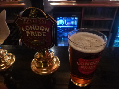 London Pride in the downstairs pub at the Mad Hatter Hotel.